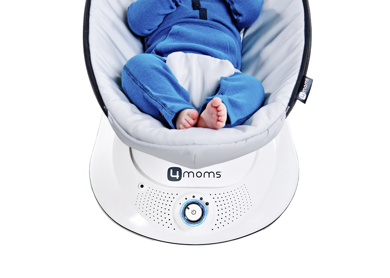 baby in baby seat with soothing adjustable speeds